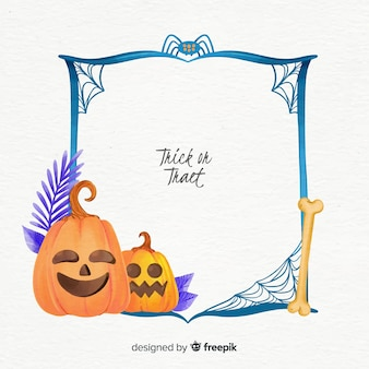 Watercolor halloween frame with pumpkin