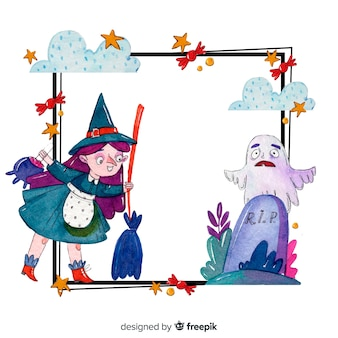 Акварельная рамка хэллоуин