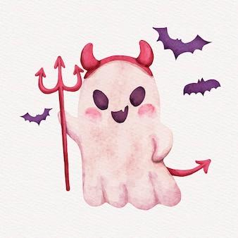 Watercolor halloween ghost illustration