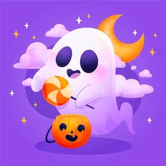 Illustrazione del fantasma di halloween dell'acquerello