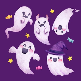 Watercolor halloween ghosts collection