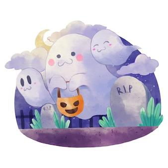 Акварельная иллюстрация призраков хэллоуина