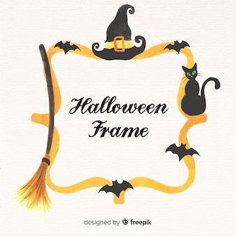 Watercolor halloween gold frame background