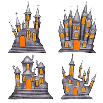 Watercolor halloween haunted houses collection