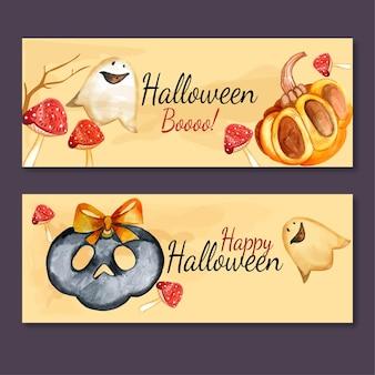 Набор акварели хэллоуин горизонтальные баннеры
