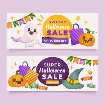 Набор акварели хэллоуин горизонтальные продажи баннеров