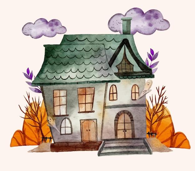 수채화 할로윈 집 그림