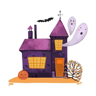 Watercolor halloween house
