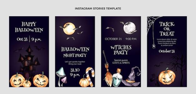 Watercolor halloween instagram stories collection