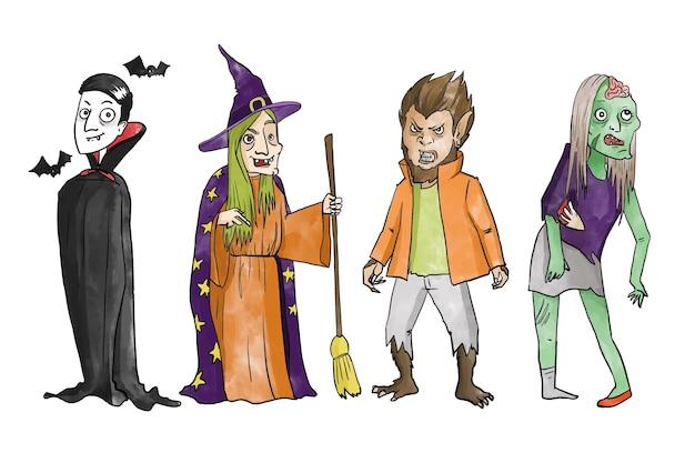 Collezione di bambini di halloween dell'acquerello