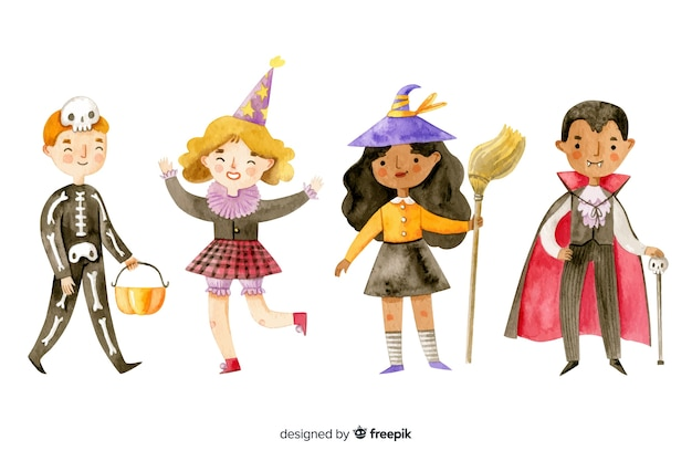 Watercolor halloween kid collection