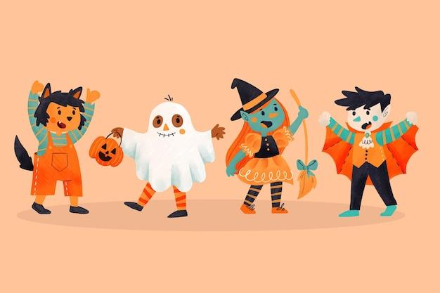 Watercolor halloween kid collection
