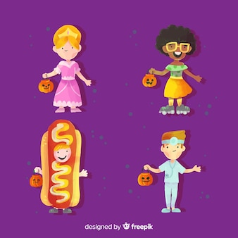 Watercolor halloween kid costumes collection