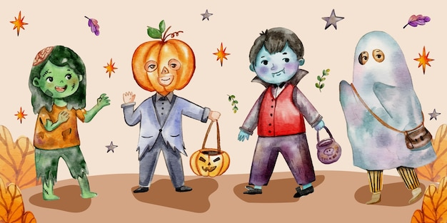 Watercolor halloween kids collection
