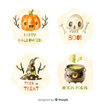 Watercolor halloween label collection