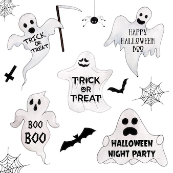 Watercolor halloween labels collection
