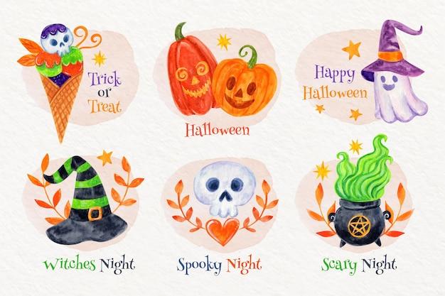 Коллекция акварельных этикеток хэллоуина
