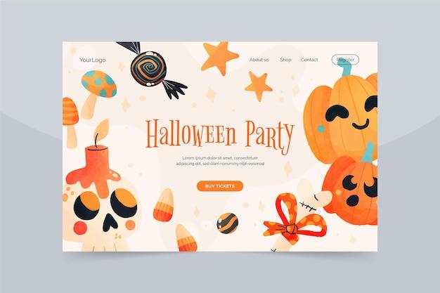 Modello di pagina di destinazione di halloween dell'acquerello