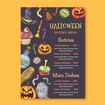 Watercolor halloween menu template