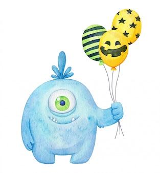 Watercolor halloween monster. fluffy big creature illustration for kids design