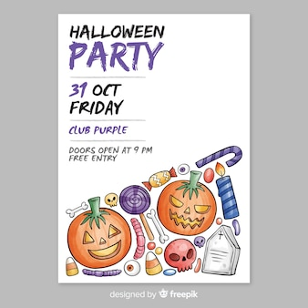 Watercolor halloween party flyer template