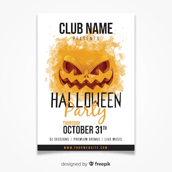 Watercolor halloween party poster template