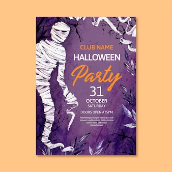 Watercolor halloween party poster with mummy