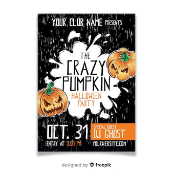 Watercolor halloween party pumpkin flyer template
