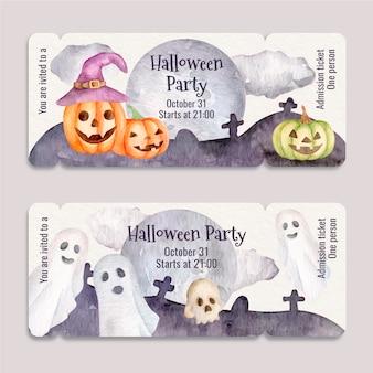 Watercolor halloween party tickets set