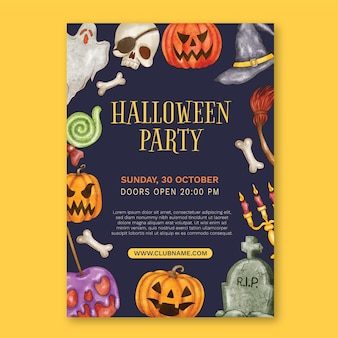 Watercolor halloween party vertical poster template
