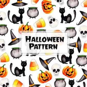 Watercolor halloween pattern background