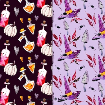 Watercolor halloween pattern collection