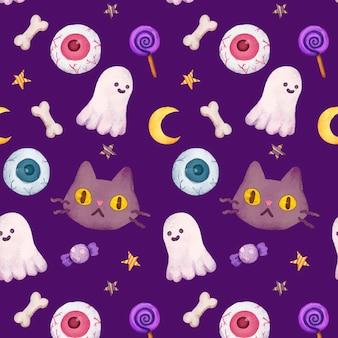 Watercolor halloween pattern design