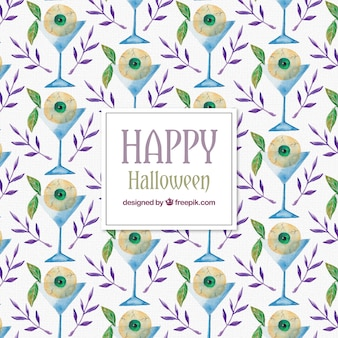 Watercolor halloween pattern with cocktail and eye