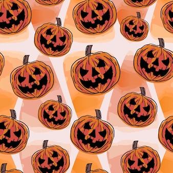 Watercolor halloween pattern with pumpkin