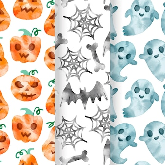 Watercolor halloween patterns collection