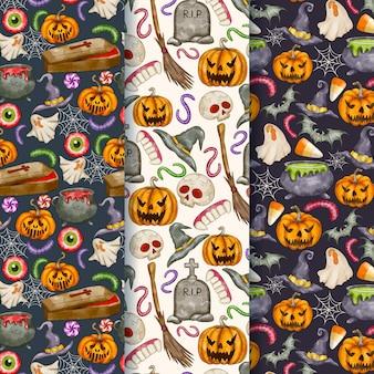 Collezione di modelli di halloween ad acquerello