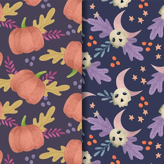 Watercolor halloween patterns concept Free Vector