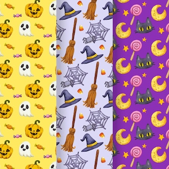 Watercolor halloween patterns concept