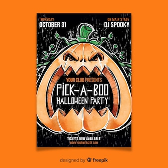 Watercolor halloween pick a boo party flyer template