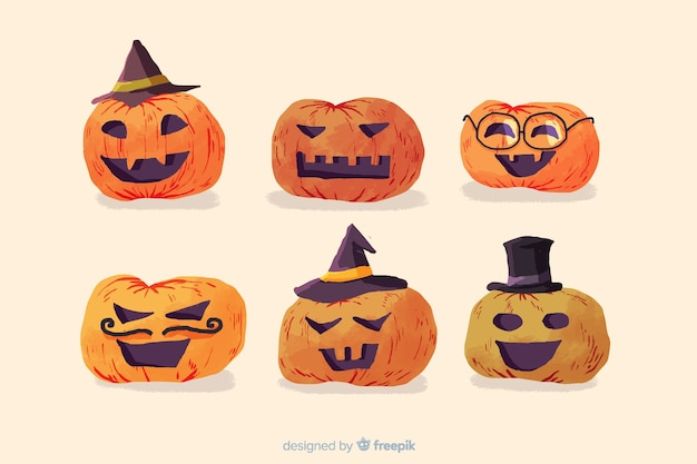 Watercolor halloween pumpkin collection on white background