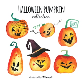 Watercolor halloween pumpkin collection