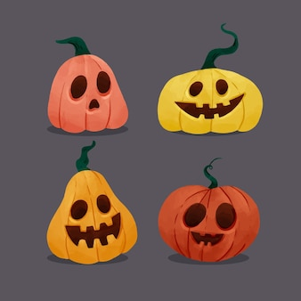 Watercolor halloween pumpkin collection