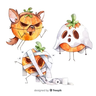 Watercolor halloween pumpkin costumes collection