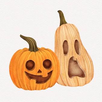 Watercolor halloween pumpkin illustration