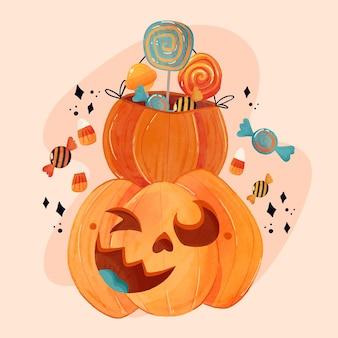 Watercolor halloween pumpkin illustration Premium Vector