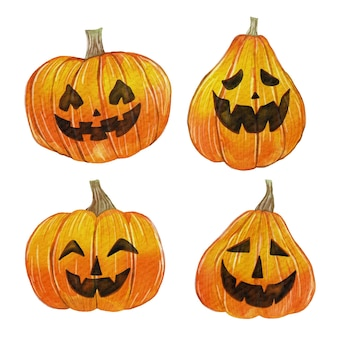 Watercolor halloween pumpkin pack
