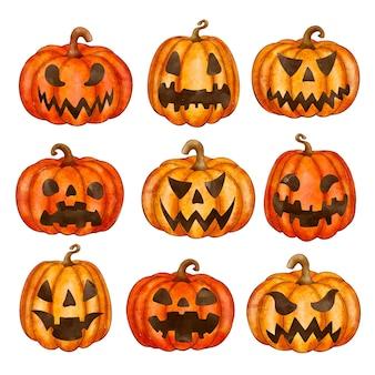 Watercolor halloween pumpkins collection