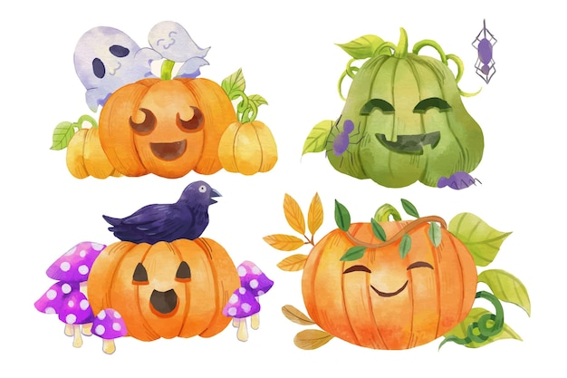 Watercolor halloween pumpkins illustration