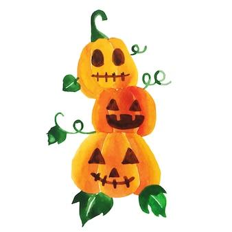 Watercolor halloween pumpkins vector.